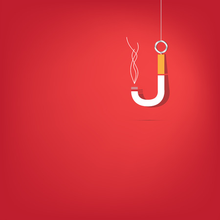 fishhook: Cigarette fishhook Illustration on white background. Isolated. 10 EPS.