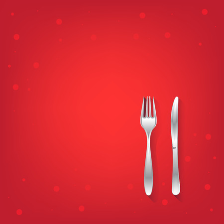 dinning table: Two red restaurant icons with fork and knife. Isolated. 10 EPS. Illustration