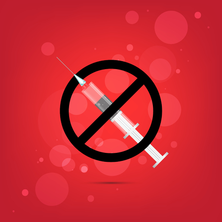 ban aid: Syringe and a stop character, isolated on red background