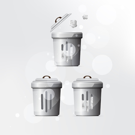 Vector trash can on grey background.