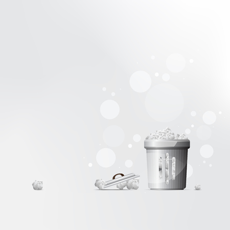 Vector black trash can grey background for presentation.