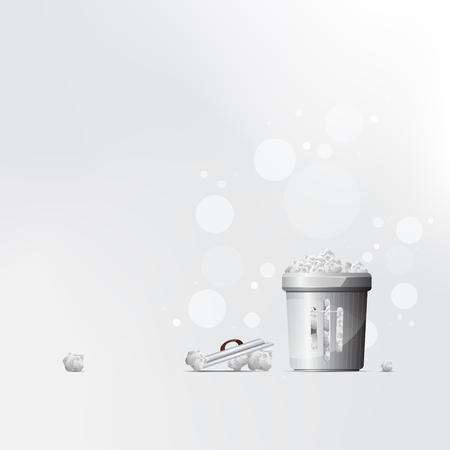 Vector black trash can grey background for presentation.