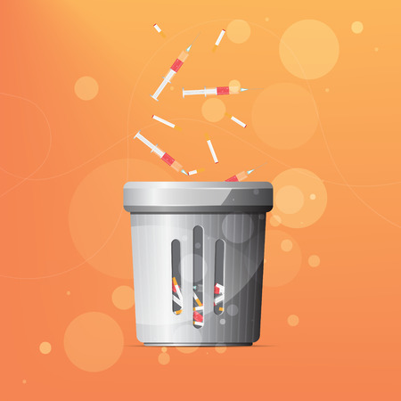 Dustbin for drugs and cigarettes on orange background.
