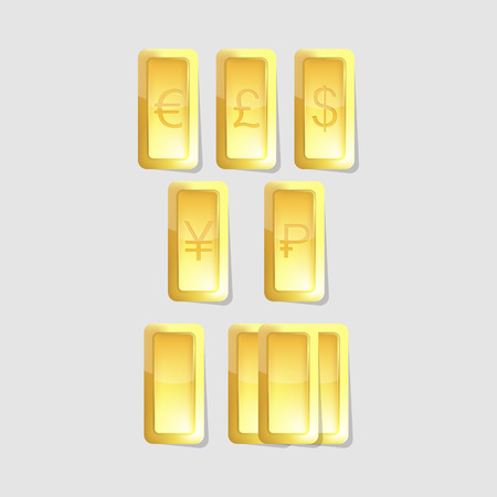 vector gold bars with symbols of world  currency on grey background 矢量图像