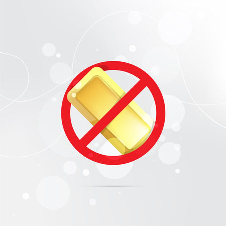The symbol of the prohibition of gold bars. Stock Illustratie