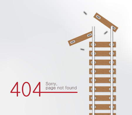 Page not found Error 404. Railroad with wooden sleeper background.