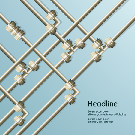 conduit: Blue background of metal pipes for presentation.
