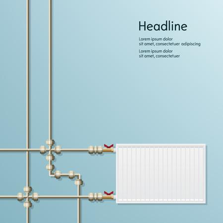 metal pipes: Blue background of metal pipes for presentation Illustration