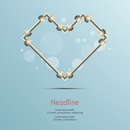steel pipe: Steel pipe heart connect on blue background.