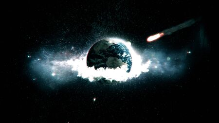 The meteorite destroys the planet earth and all life.