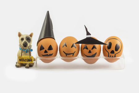 cup four: Four halloween egg in egg cup and wellcome dog on white