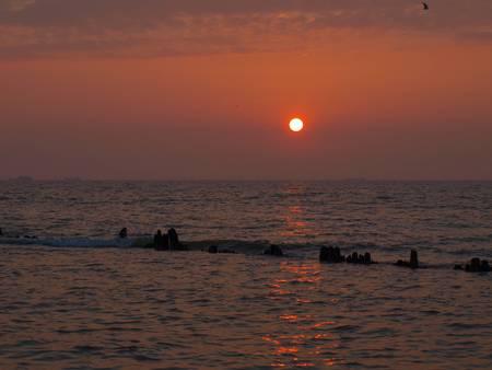 azov sea: sunset on the Azov Sea Stock Photo