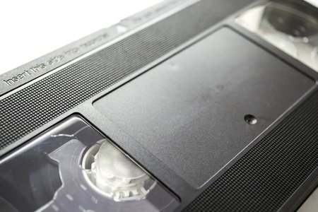 videocassette: Videocassette on white background closeup Stock Photo