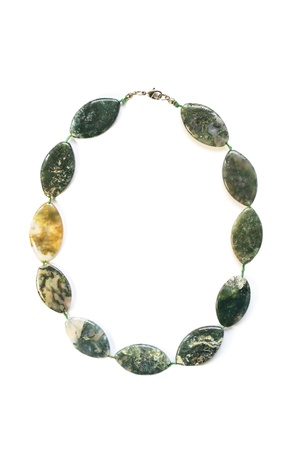 nephritis: Nephrite necklace isolated over white