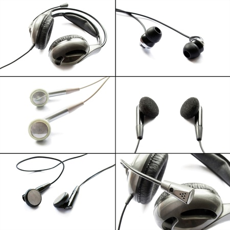 Set of different headphones isolated over white photo