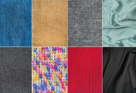 Set of different textile materials photo