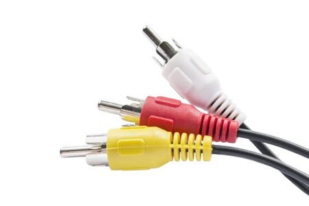 Three RCA jacks isolated over white background photo
