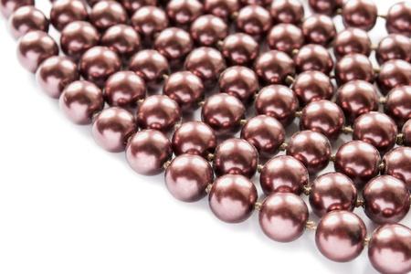 bead jewelry: Vinous nacre bead on white background Stock Photo