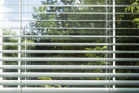 View of summer sunny day through the window blinds photo
