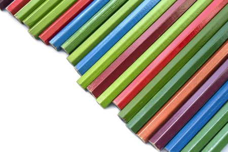 Set of multicolor unsharpened pencils on white background photo