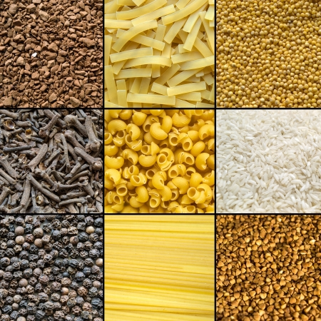 Set of different products  pasta, groats, spices and instant coffee photo