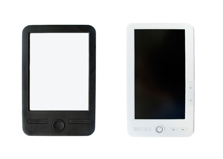 Black and white electronic books isolate over white photo