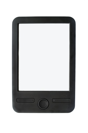 Black electronic reader with light blank screen on white background photo