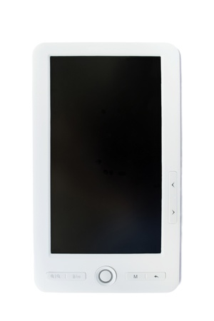 White electronic book with black screen on white background photo