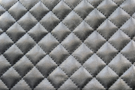 quilted: Black stitched leather as a background Stock Photo