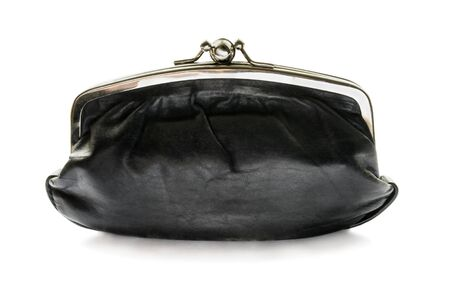 Black leather cosmetic bag wigh metal clasp on white background photo