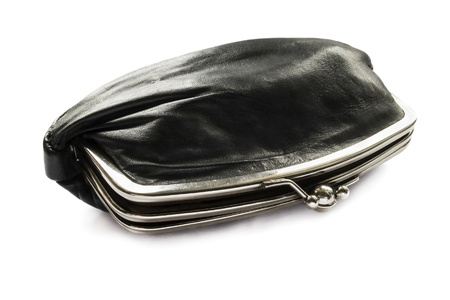 opened bag: Half opened vintage black leather cosmetic bag isolated over white