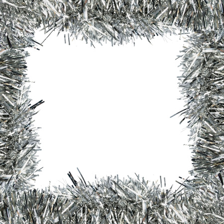 Square frame of silver decorative tinsel over white photo