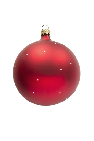 Red glass mat christmas ball isolated over white photo