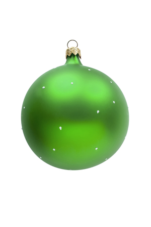 Green glass mat christmas ball isolated on white background photo