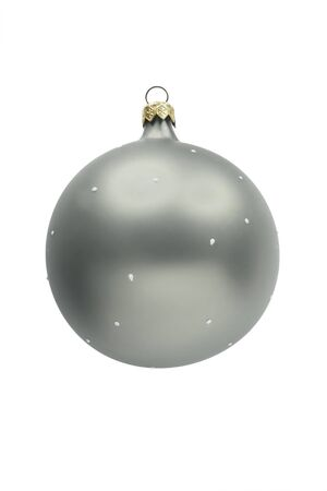 Silver stylish glass mat christmas ball on white background photo
