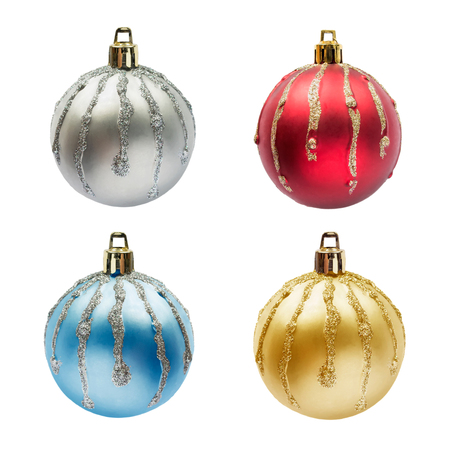 Set of four mat multicolor christmas balls with sparkling streaks isolated over white photo