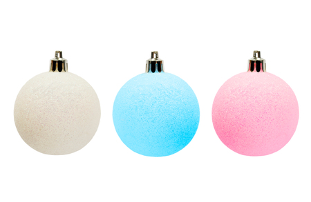 Set of three sparkling scratchy christmas balls on white background photo
