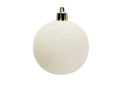 Sparkling white christmas ball isolated over white photo