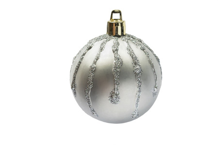 Silver mat christmas ball with sparkling streaks on white backgroud photo