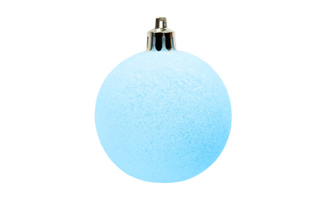 Light blue sparkling christmas ball isolated over white photo