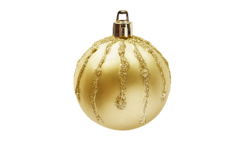 Golden mat christmas ball with sparkling streaks on white background photo