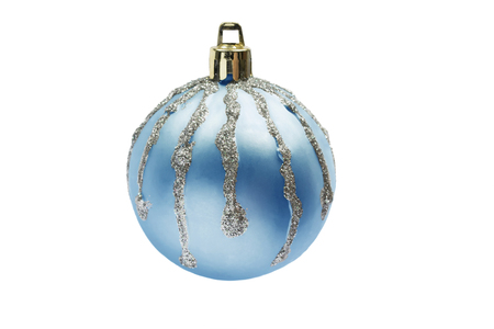 Light blue christmas ball with silver streaks isolated over white photo