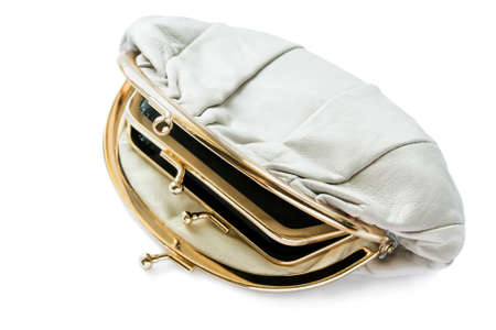 Half opened leather beige double clutch isolated over white photo
