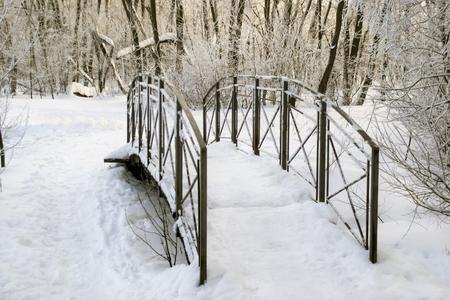 snowdrifts: Little metal footbridge among snowdrifts in winter forest