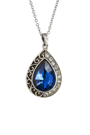 Vintage drop shaped sapphire pendant on white background