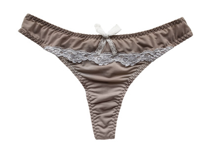 silky lingerie: Silk beige panties with white lace on white background