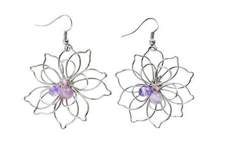 Vintage-Ohrringe In Form Von Blumen Auf Weißem Lizenzfreie Fotos ...