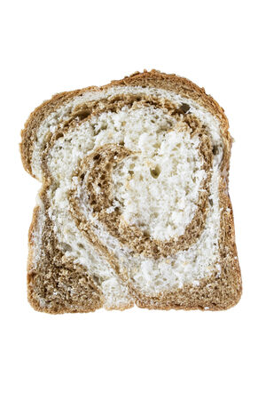 mingled: Piece of bread mixed wheaten and rye isolated over white