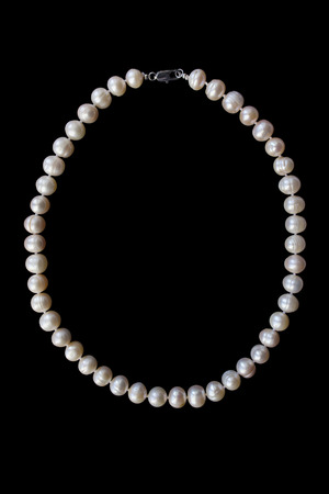 necklace: Pink pearl necklace on black background Stock Photo