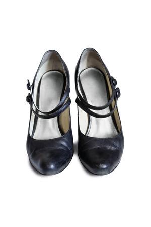 heel strap: Leather black Mary Jane shoes on white background Stock Photo